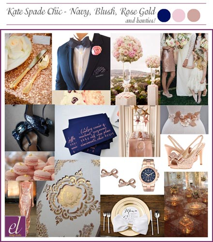 Navy, Rose gold, Blush weddings. Color board for a Kate Spade Preppy Wedding | St. Louis Weddings by Events Luxe