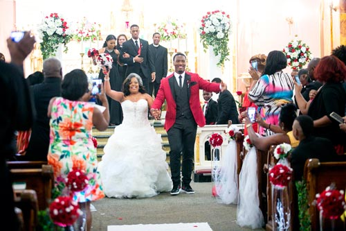 Bride & Groom at St Stanislaus Catholic Church | Events Luxe Weddings