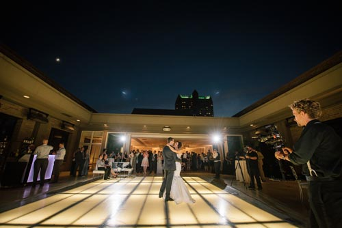 Nighttime rooftop wedding St. Louis | Events Luxe Weddings