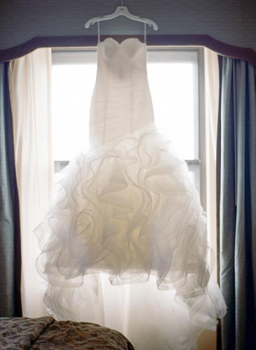 Bridal dress in window | Events Luxe Weddings