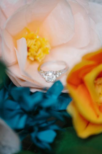 Engagement Ring Photo and paper wedding flowers | Events Luxe Weddings