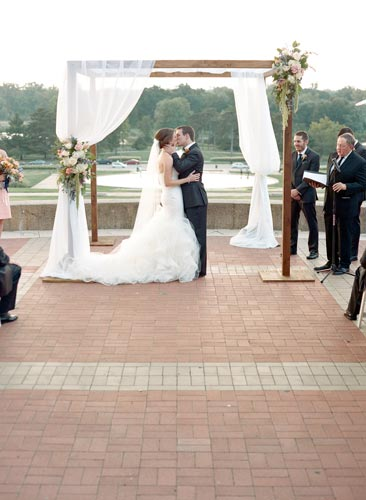 Bride & Groom at World's Fair Pavilion in Forest Park | Events Luxe Weddings