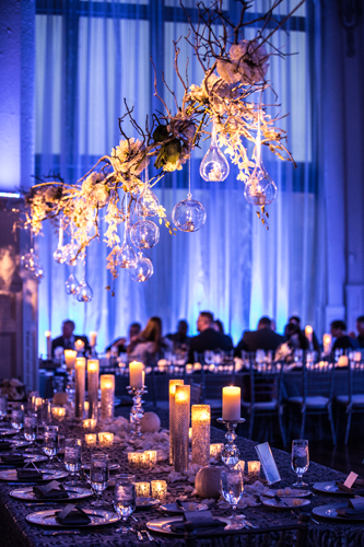 blue & silver table settings | Events Luxe Weddings