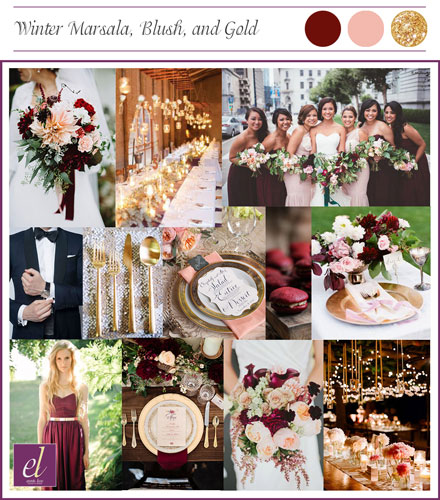 Rouge Winter Wedding color board | Events Luxe Wedding
