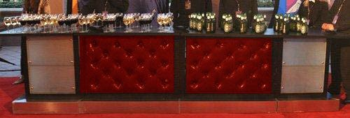 Red Leather Tufted Bar Orlando Event Rentals
