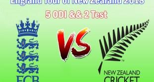 England vs New Zealand 2018 Schedule