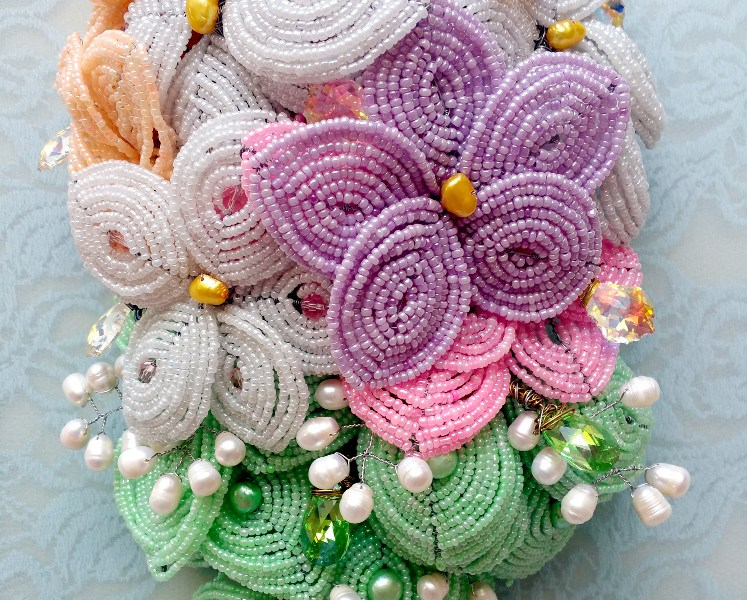 Handmade Pastel Cascading Beaded Bridal Bouquet