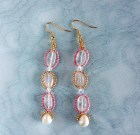 Pink and Gold Rose Quartz and Czech Glass Seed Bead Earrings with Freshwater Pearls.