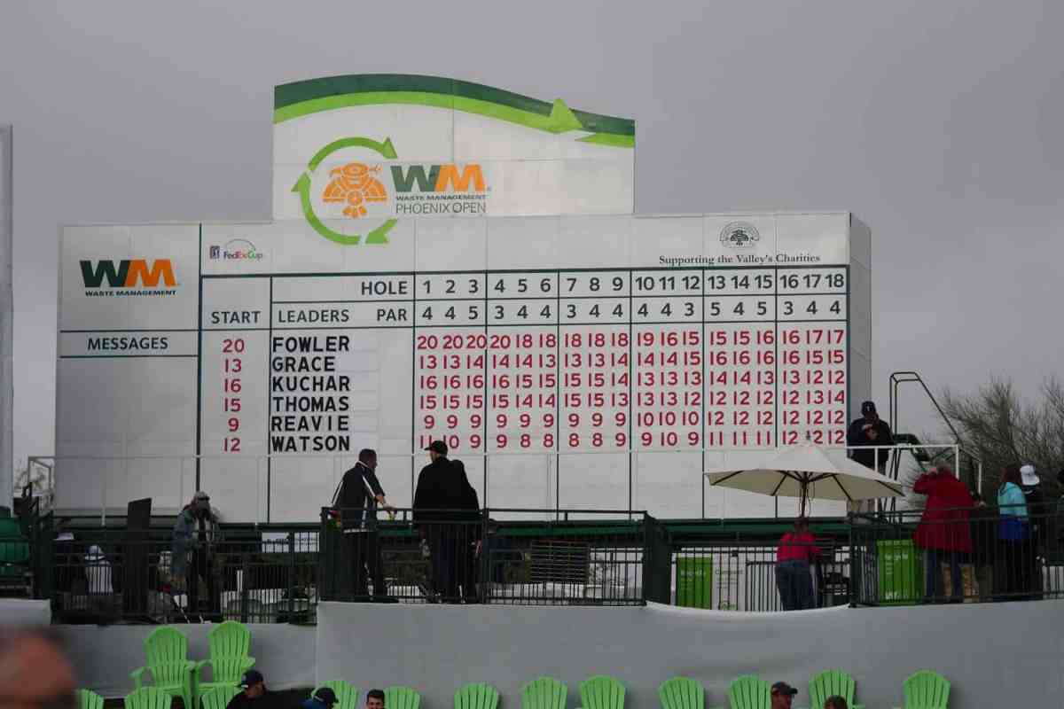 Rickie Fowler at the top of the final leaderboard on Sunday at 2019 Waste Management Phoenix Open