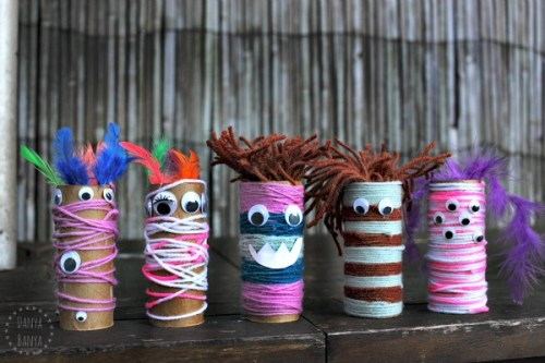 Toilet paper roll Monsters Wicked Awesome Upcycled Halloween Decorations