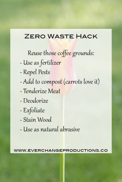 Finding ways to reuse those things we can't live without is a great way to save money and the Earth. Coffee grounds work great as fertilizer, pest repellent, adding to compost, tenderizing meat, deodorizing, exfoliating, staining wood or as a natural abrasive.