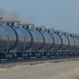 Railway Tank Cars in a Line