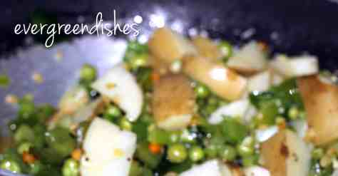 boiled veggies are put