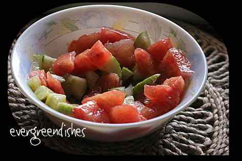 watermelon and cucumber salad