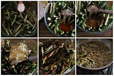 making of kurkuri bhindi in steps