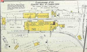 Cunningham Mill - 1892 Sanborn Map