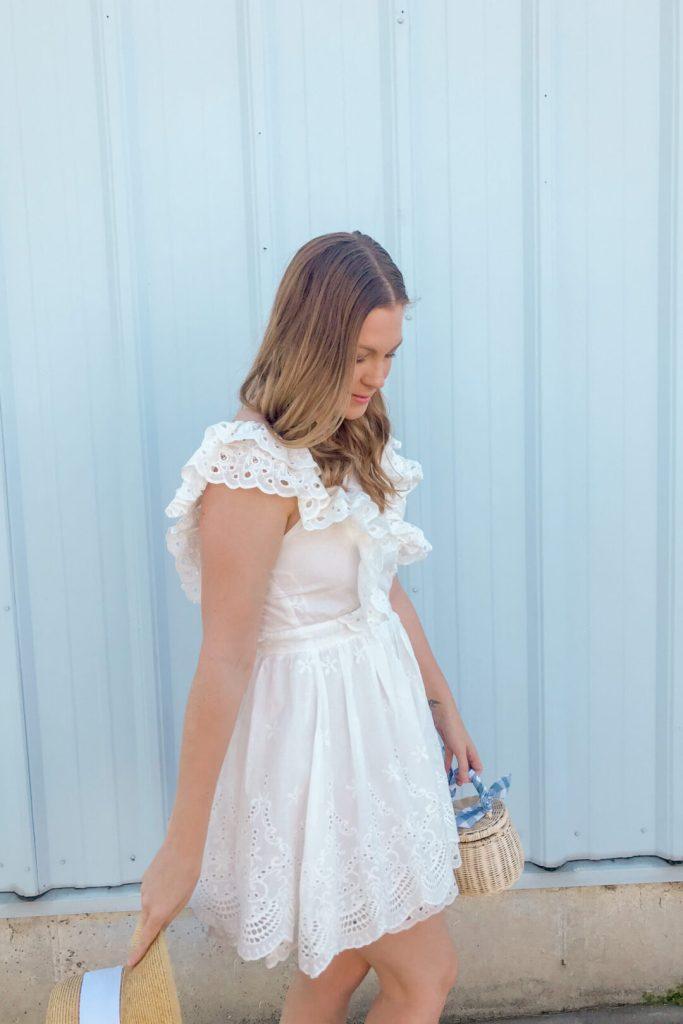 White Eyelet Ruffle Dress 7