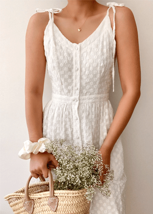 breath of youth daisy white midi dress bow shoulder brookie