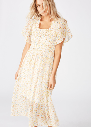 cream floral shirred dress cotton on brookie