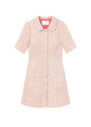 gal meets glam clarissa pink tweed collar dress brookie