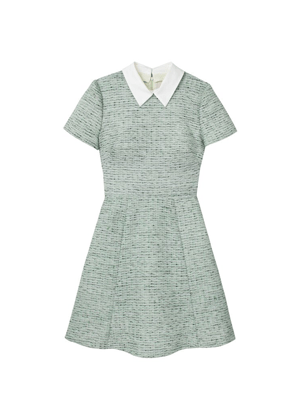 gal meets glam tatum green tweed collar mini dress brookie
