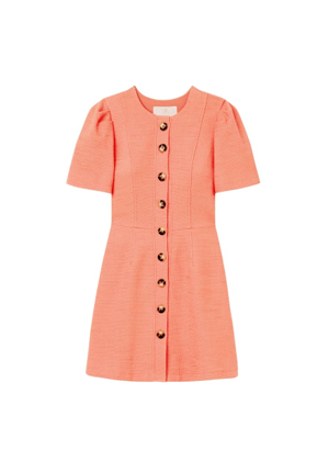 kathleen orange button dress brookie gal meets glam