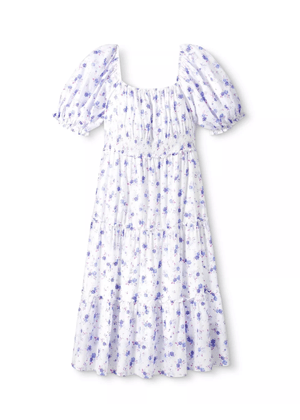loveshackfancy x target gemma floral purple blue white midi dress brookie