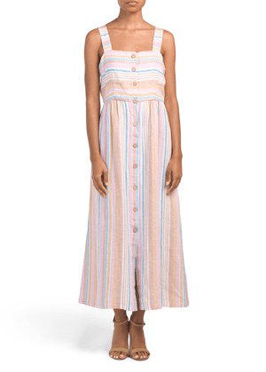 striped linen button dress maxi brookie tjmaxx