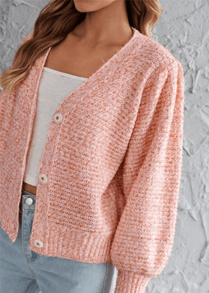 pink orange knit sweater cardigan brookie shein