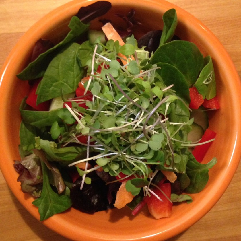 Microgreens used on top of a salad.