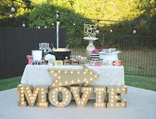 Gorgeous Outdoor Movie Themed Party