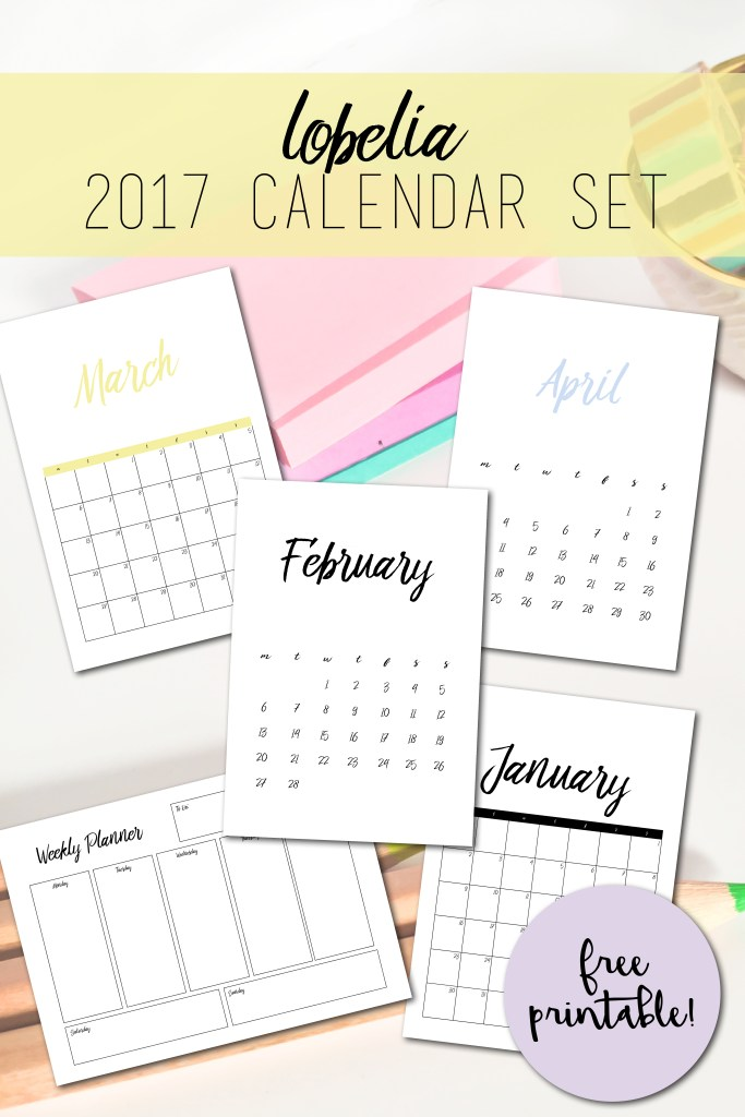 Free Printable  Calendar  Pdf Calendar Sets  Ever So Britty