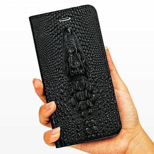 Genuine Leather Flip iPhone 12 11 Pro Max Case Crocodile Pattern