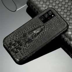 3D Crocodile Pattern Genuine Leather Samsung Case