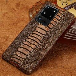 Genuine Leather Ostrich Leg Skin Pattern Case for Samsung Galaxy S21 Ultra S20