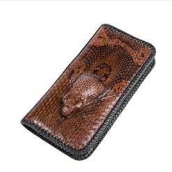 Genuine Cobra Snake Skin Leather Zipper Wallet Brown