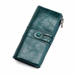 Cowhide Women Wallet Money Clip Purse Dark Green