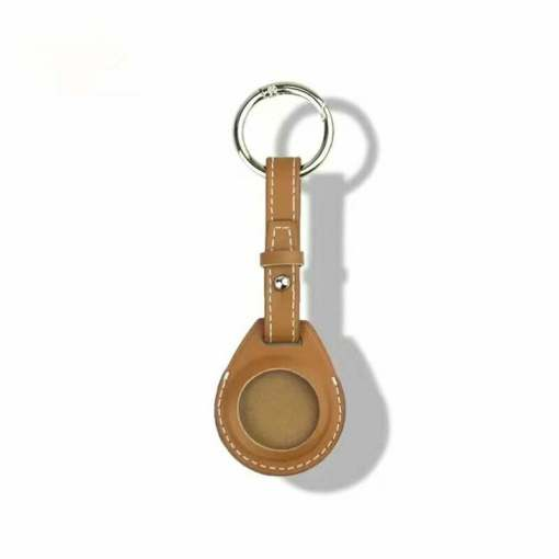 Leather Airtag Key Ring Brown