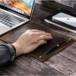 Leather Mouse Pad with Pen Holder