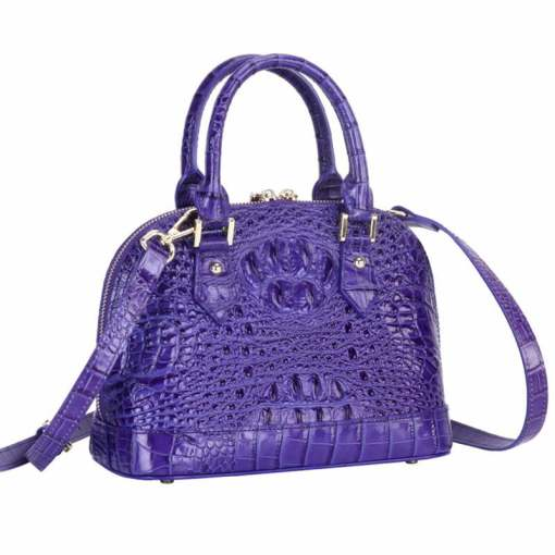 Women's Genuine Crocodile Bone Leather Luggage Tote Bag Purple