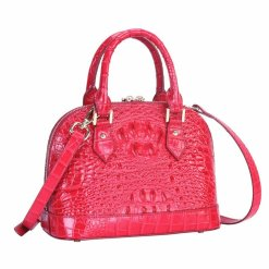 Women's Crocodile Bone Texture Leather Luggage Tote Bag Red