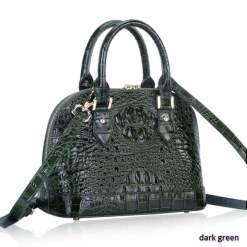 Women's Crocodile Bone Texture Leather Luggage Tote Bag Dark Green
