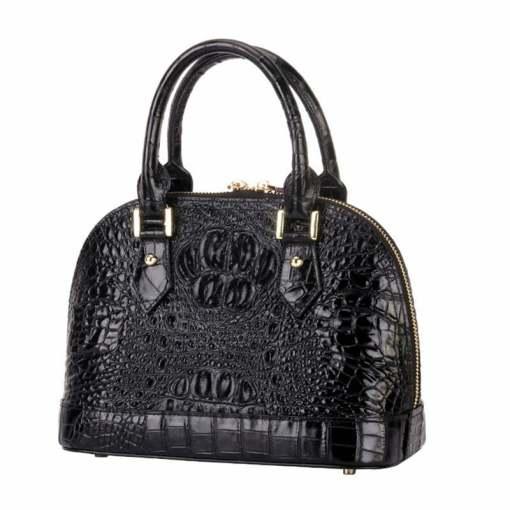 Women's Crocodile Bone Texture Leather Luggage Tote Bag Black