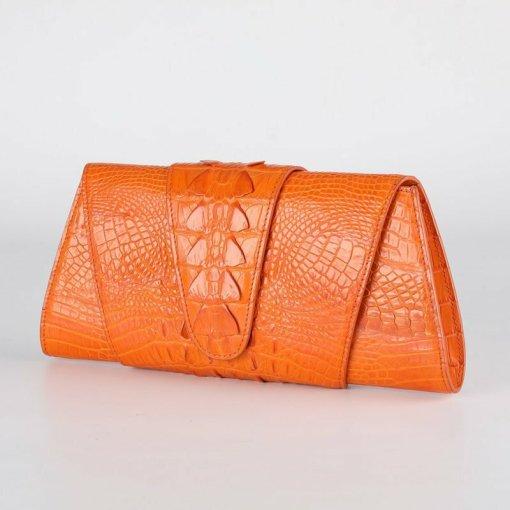 Crocodile Leather Banquet Purse Evening Handbag Orange