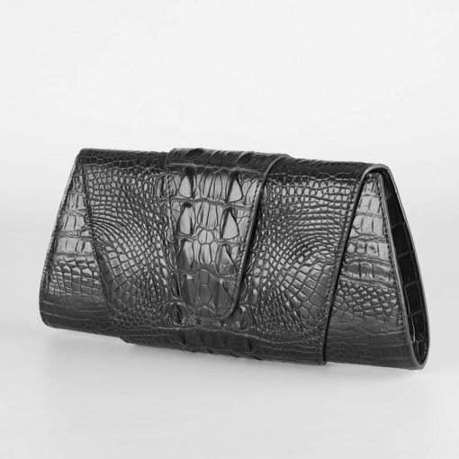 Crocodile Leather Banquet Purse Wallet Evening Handbag Black