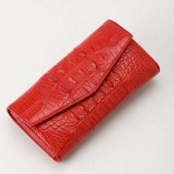 Womens Evening Crocodile Purse Wallet Clutch Bag Red