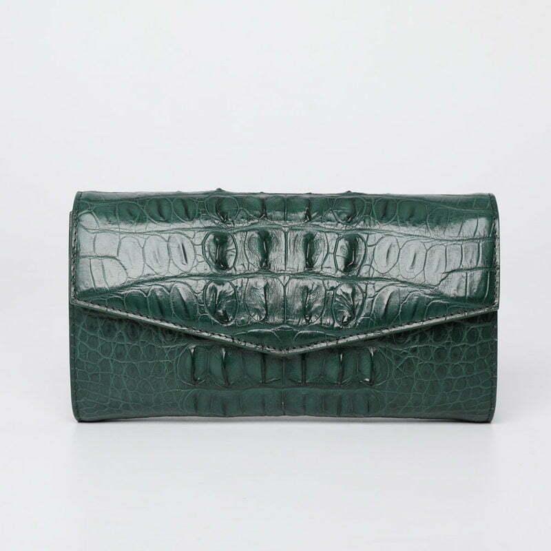 Womens Evening Crocodile Purse Wallet Clutch Bag