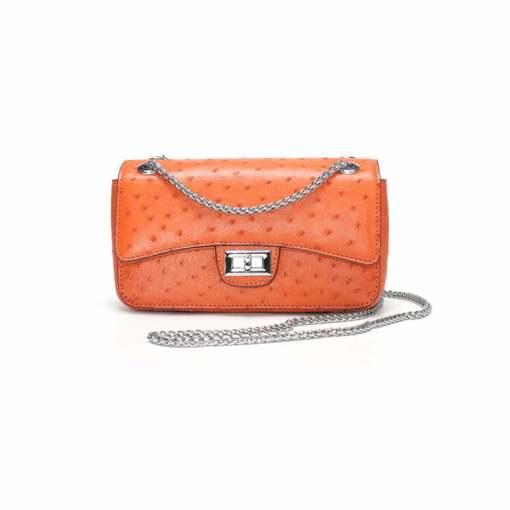 Women's Ostrich Handbag Shoulder Bag Tote Purse Orange