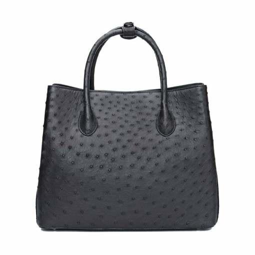Women's Ostrich Handbag Shoulder Bag Tote Purse Black