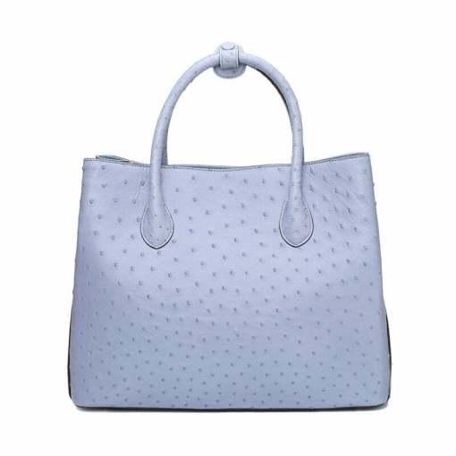 Women's Ostrich Handbag Shoulder Bag Tote Purse Light Blue